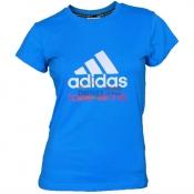 ADIDAS 阿迪达斯 女款纯棉乒乓球T桖衫 短袖 AGM-13108 蓝白款
